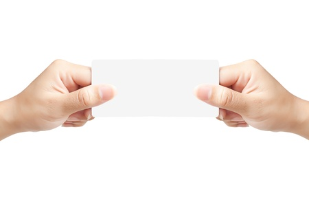 Hand of women holding blank paper label or tag on white background Stock Photo - 14947942