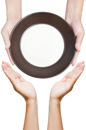 dult: Brown kitchen plate a hand holding from top view on background white