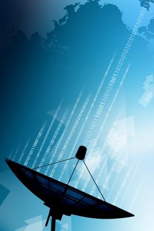 Satellite dish transmission data  Stock Photo