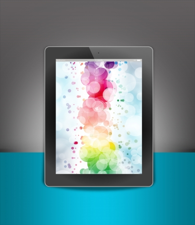 tablet pc, isolated on background blue and black photo