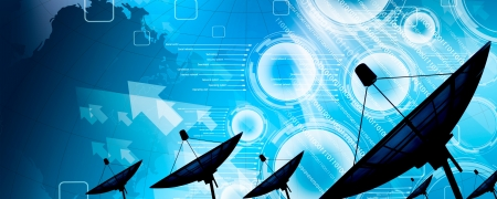 internet radio:  Satellite dish transmission data  Stock Photo