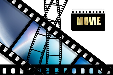 old movies: Curved black film sheet on background white Stock Photo