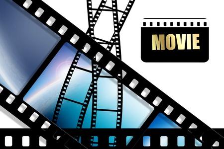 cinta pelicula: Hoja curvada cine negro sobre fondo blanco