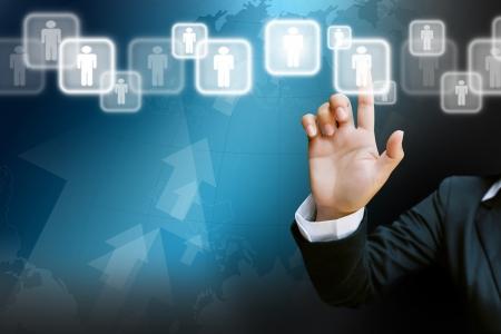hand of business women pushing a button on a touch screen interface  Standard-Bild