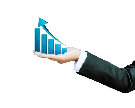 Hand of women business graph Standard-Bild