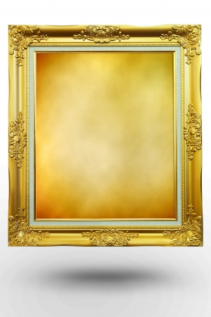 old antique gold frame in background Brown over white background photo