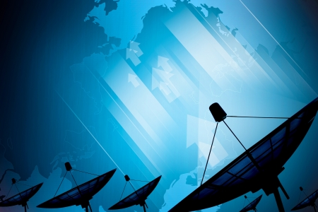 telecommunication: Satellite dish transmission data on background digital blue
