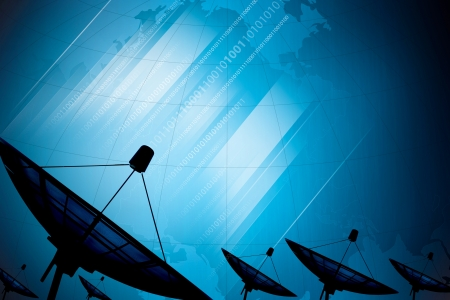 Satellite dish transmission data on background digital blue photo