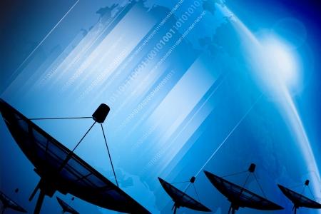 Satellite dish transmission data on background digital blue  Фото со стока
