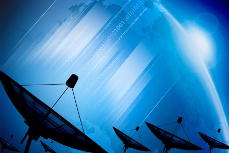Satellite dish transmission data on background digital blue  Stock Photo