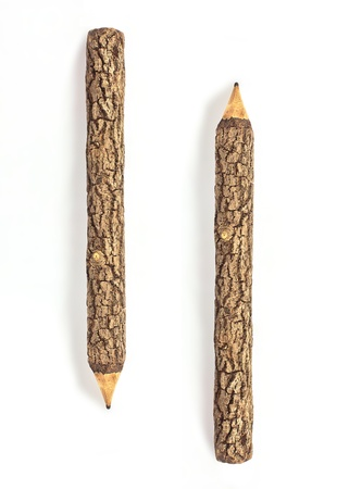 Green wooden pencil on a white background