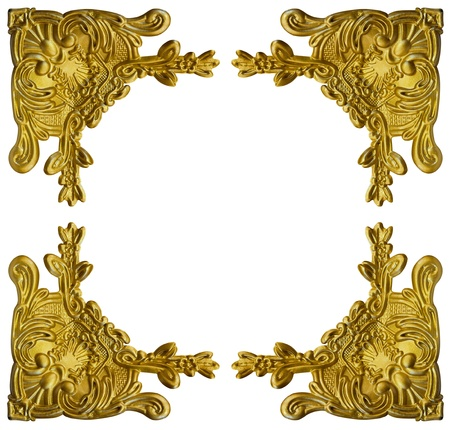 Pattern of gold metal frame carve flower on white background  Фото со стока