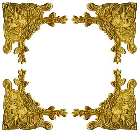 Pattern of gold metal frame carve flower on white background  Stok Fotoğraf