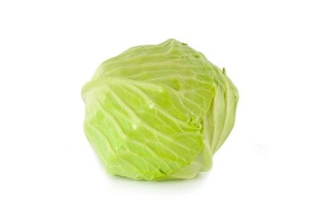 Head green cabbage isolated on white background