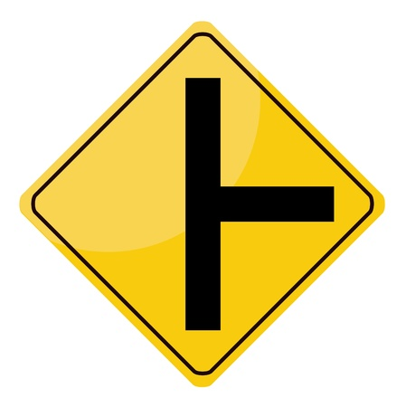 Yellow traffic sign isolated on white background photo