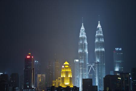 bldg: Kuala lumpur, malaysia at night Petronas Bldg Twin Towers Editorial