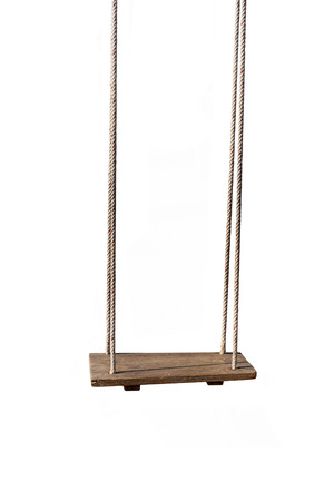 An old wood swing hanged on a tree Isolated on white background