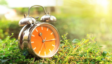 Alarm clock in sunlit on background spring field green and yellow photo