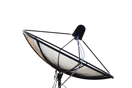 data transmission: Satellite dish transmission data Isolated on white background.