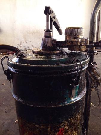 iron: Fuel tanks in the garage. Stock Photo