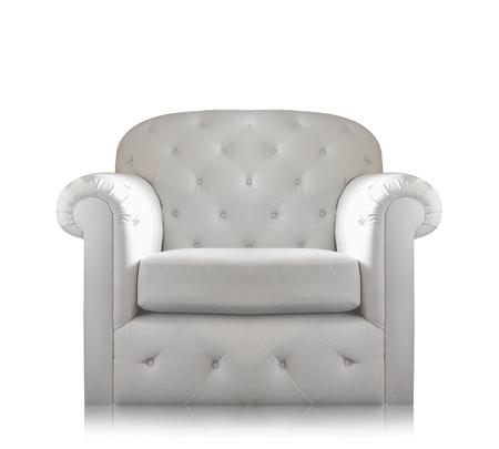 white sofa: Gray-white sofa Isolated on white background. Stock Photo