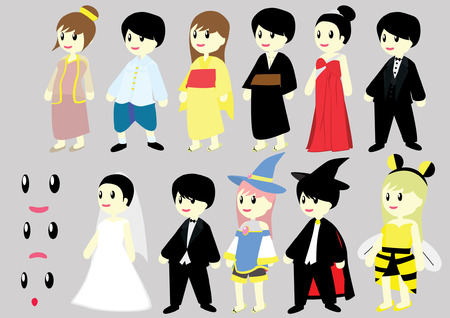 costume culture Thai Japan boy and girl party set Vector