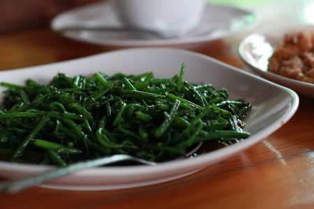 nature stir fried chinese Morning Glory pure green Stock Photo