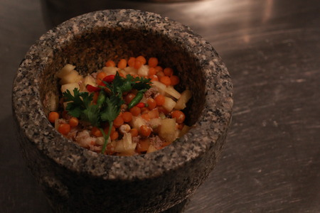 close up shrimp paste chili sauce in a mortar stone