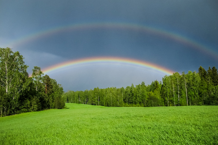 Double rainbow over a green grass meadow field on an easly summer day.