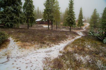 A trail in a rural winter mountain farm Stock fotó