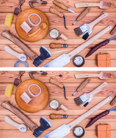 A spot the missing puzzle where five tools has been removed in the second picture. Easy level. Right answer: Wooden spoon, rope, wooden needle, brush, knife Stock Photo