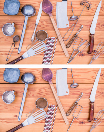 Five utensils have been removed from the upper picture, can you find them? Easy level. Correct answer: tea ball, table knife, straw, spiral whisk, beater