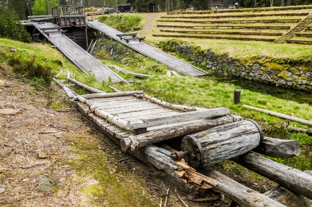 Old deserted Timber boom puller in Stoa canal used in floating timber between rivers. Stock Photo