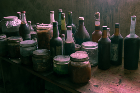 Strange glass bottles with suspicious content, has been standing here for years! Definitely an old witchs home.