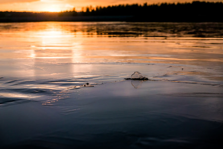 The winters first ice freezing on a lake in sunset with warm light. Lots of copy space.