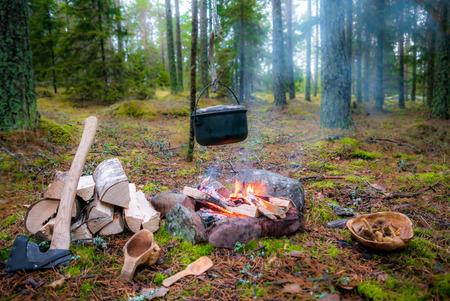 Feuerstelle für Buschfahrzeuge mit Hängetopf, Brennholz, Axt und Kuksa. Auch eine Holzplatte mit Pilzen gefüllt. Aufgenommen in Aland Islands, Finnland.