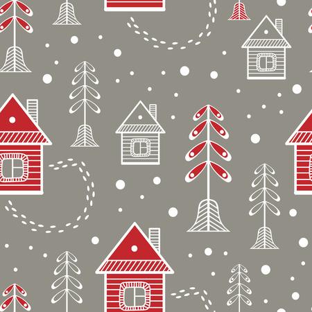 Few houses in the winter landscape. Scandinavian style vector seamless pattern.