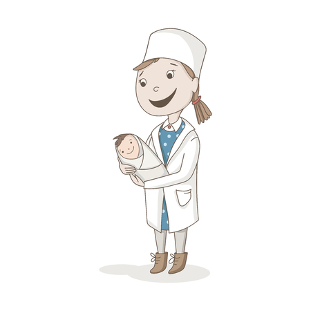 Cherful nurse with newborn baby in medical uniform. Vector character
