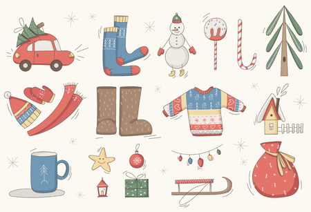 Christmas set, hand drawn style - gifts, clothes and other elements vector illustration. Çizim