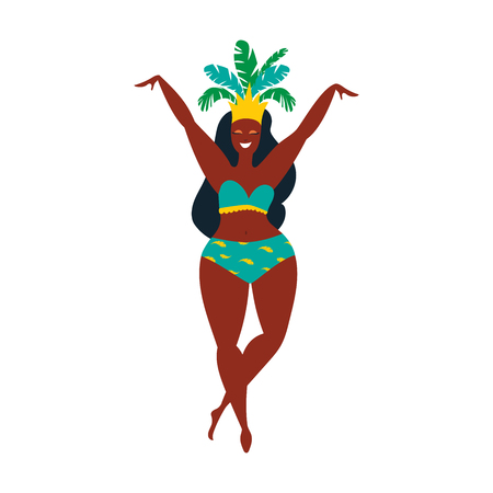 Vector flat character. Brazilian samba dancers of the carnival in Rio de Janeiro. Girl in a festive suit. Vector Illustration. Illustration
