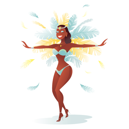Vector character. Brazilian samba dancers of the carnival in Rio de Janeiro. Girl in a festive suit.