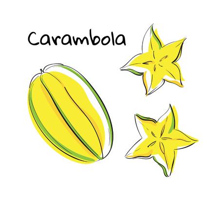 Vector illustration of hand drawn. Yellow fruit carambola. Isolated organic natural. Eco illustration on white background Illustration