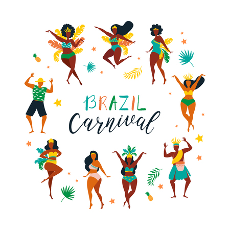 Brazil carnival. Vector illustration of funny dancing men and women in bright costumes. Design elements for carnival concept and other users Illustration