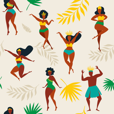 illustration in retro style carnival girls, women and men young people. Seamless pattern Brazilian samba dancers. Design tropic bright leaves. Vettoriali