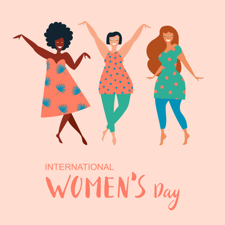International Womens Day. Vector template with lettering design. Vector illustation. Ilustracja