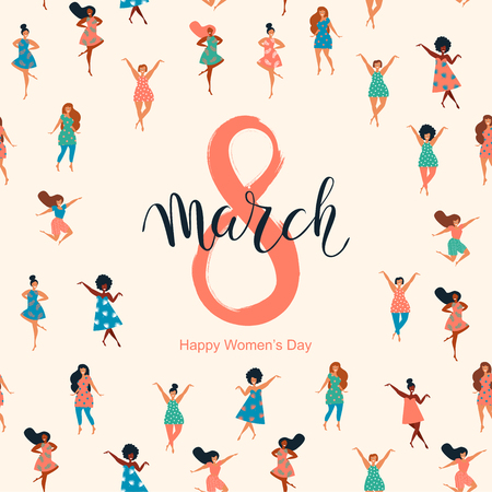 8 March, International Women's Day. Vector template with lettering design with seamless texture. Vector illustration.