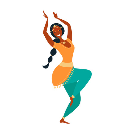 Indian dancer vector illustration cartoon style. Happy Indian woman. Traditional Indian dance.
