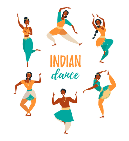 Set of indian dancers. Happy people dancing in various poses vector flat illustration. Men and women dancing together isolated on white background. Illustration