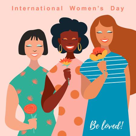 3月8日、国際女性デー。レタリングデザインのベクターテンプレート。ベクターの図。  イラスト・ベクター素材