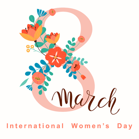 8 march, International Womens Day. Vector template with lettering design. Vector illustration.